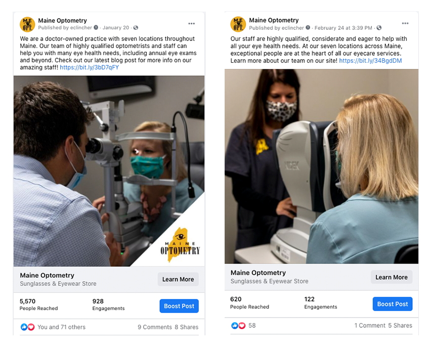Graphic of showing Facebook posts for Maine Optometry