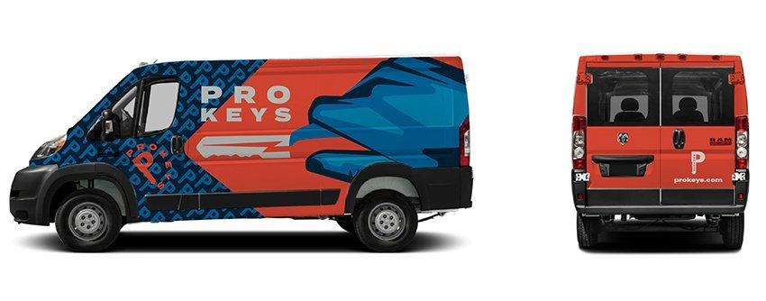 Mockup of branded cargo van wrap for prokeys